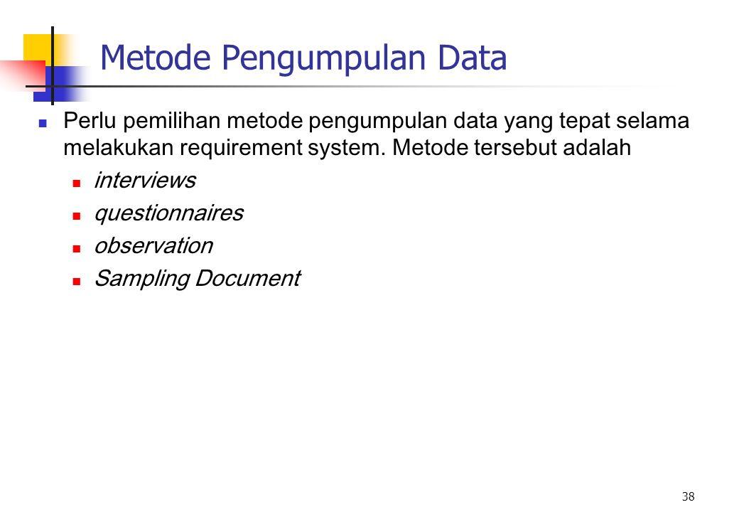 38 Metode Pengumpulan Data Perlu pemilihan metode pengumpulan data yang tepat selama melakukan requirement system. Metode tersebut adalah interviews q