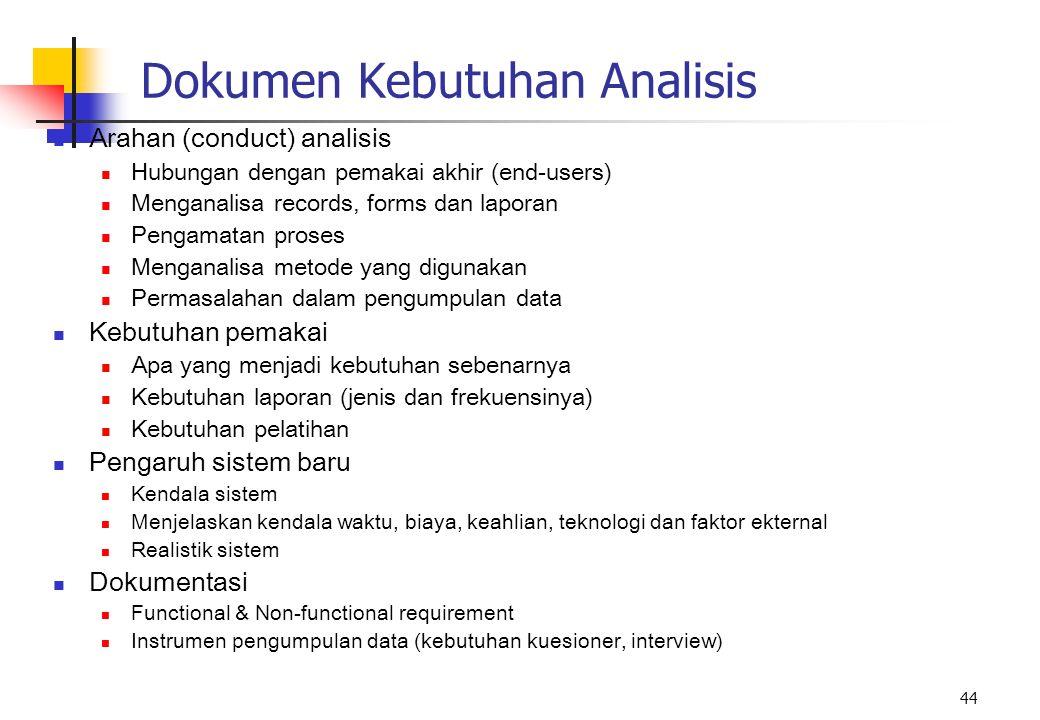 44 Dokumen Kebutuhan Analisis Arahan (conduct) analisis Hubungan dengan pemakai akhir (end-users) Menganalisa records, forms dan laporan Pengamatan pr