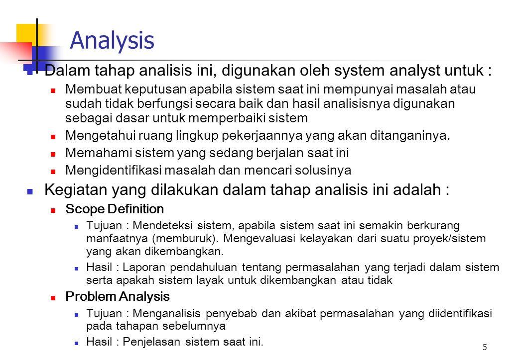 5 Analysis Dalam tahap analisis ini, digunakan oleh system analyst untuk : Membuat keputusan apabila sistem saat ini mempunyai masalah atau sudah tida