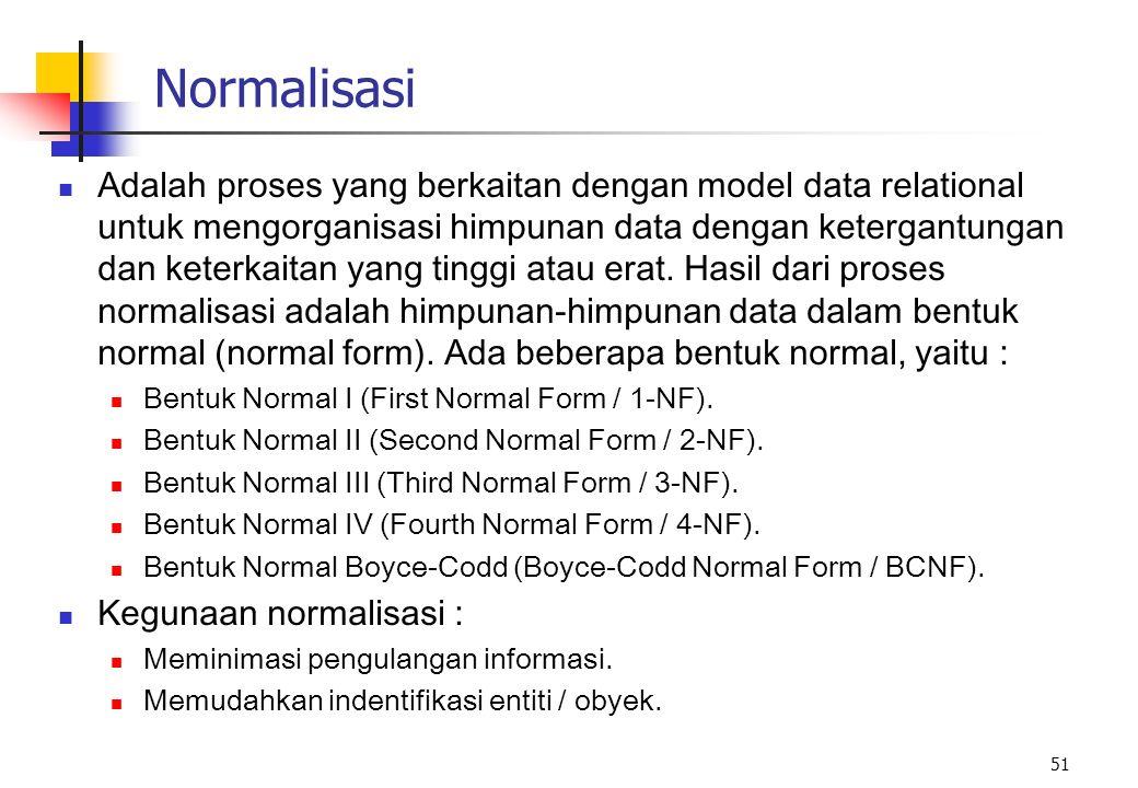 51 Normalisasi Adalah proses yang berkaitan dengan model data relational untuk mengorganisasi himpunan data dengan ketergantungan dan keterkaitan yang