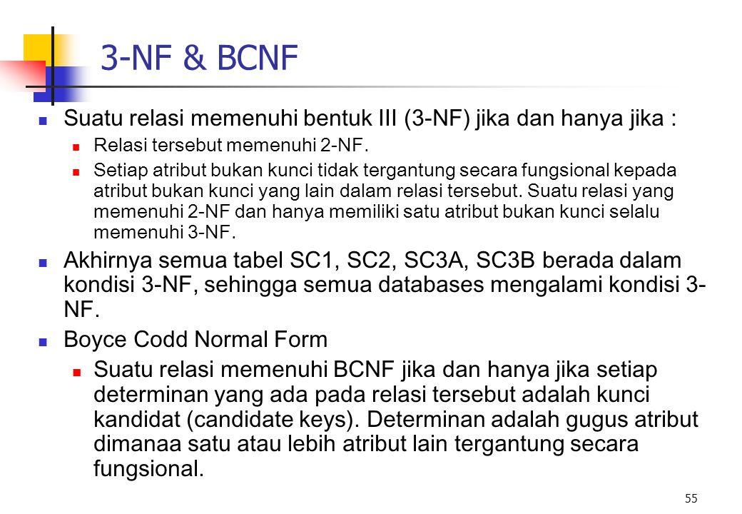 55 3-NF & BCNF Suatu relasi memenuhi bentuk III (3-NF) jika dan hanya jika : Relasi tersebut memenuhi 2-NF. Setiap atribut bukan kunci tidak tergantun