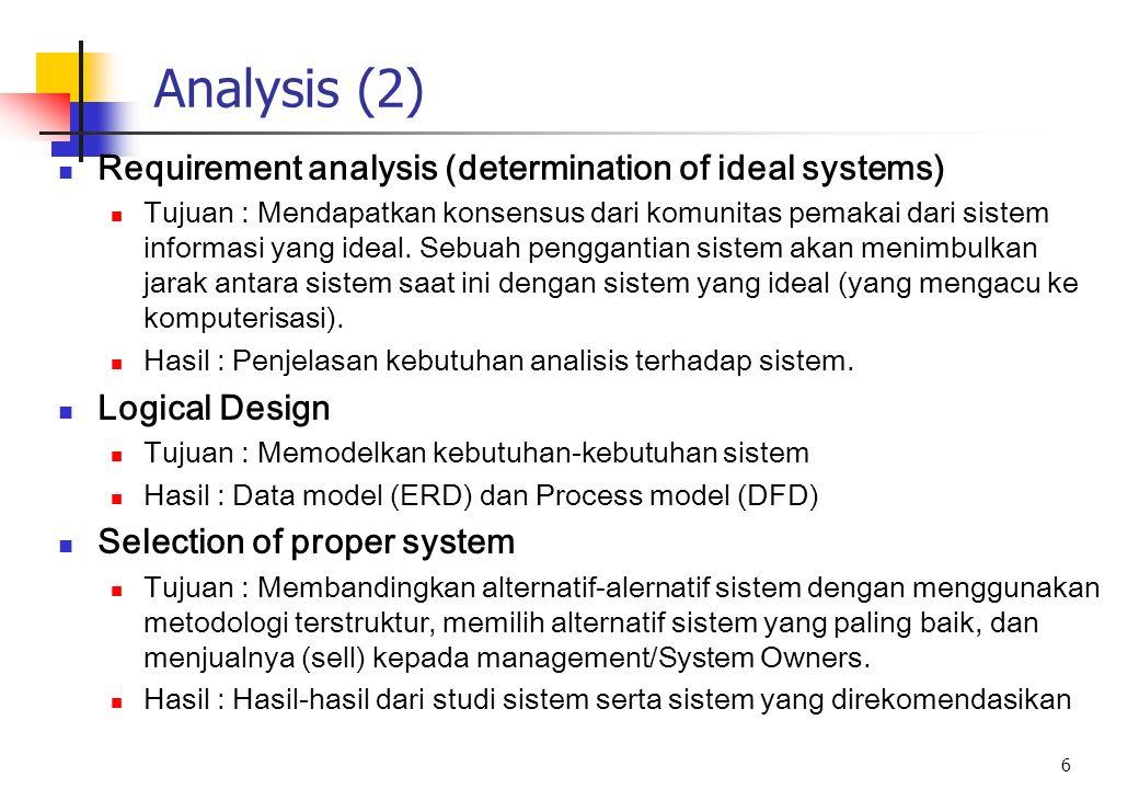 6 Analysis (2) Requirement analysis (determination of ideal systems) Tujuan : Mendapatkan konsensus dari komunitas pemakai dari sistem informasi yang