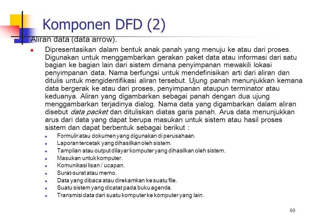 60 Komponen DFD (2) Aliran data (data arrow). Dipresentasikan dalam bentuk anak panah yang menuju ke atau dari proses. Digunakan untuk menggambarkan g