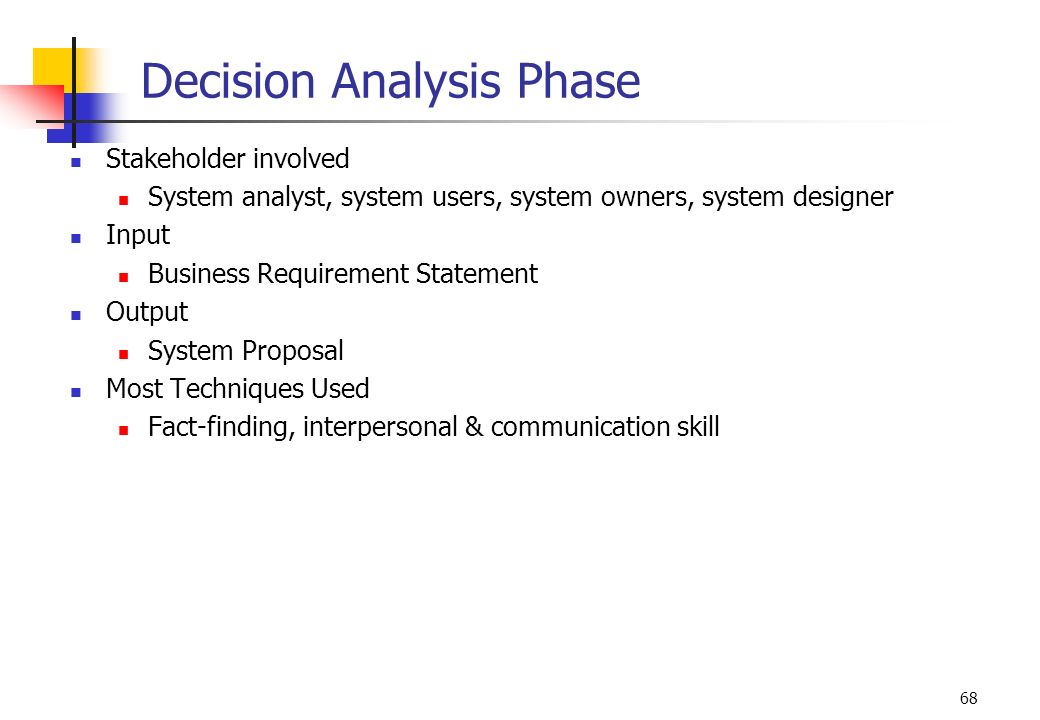 68 Decision Analysis Phase Stakeholder involved System analyst, system users, system owners, system designer Input Business Requirement Statement Outp