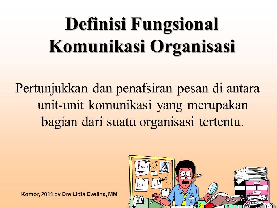 Definisi Fungsional Komunikasi Organisasi Pertunjukkan dan penafsiran pesan di antara unit-unit komunikasi yang merupakan bagian dari suatu organisasi tertentu.