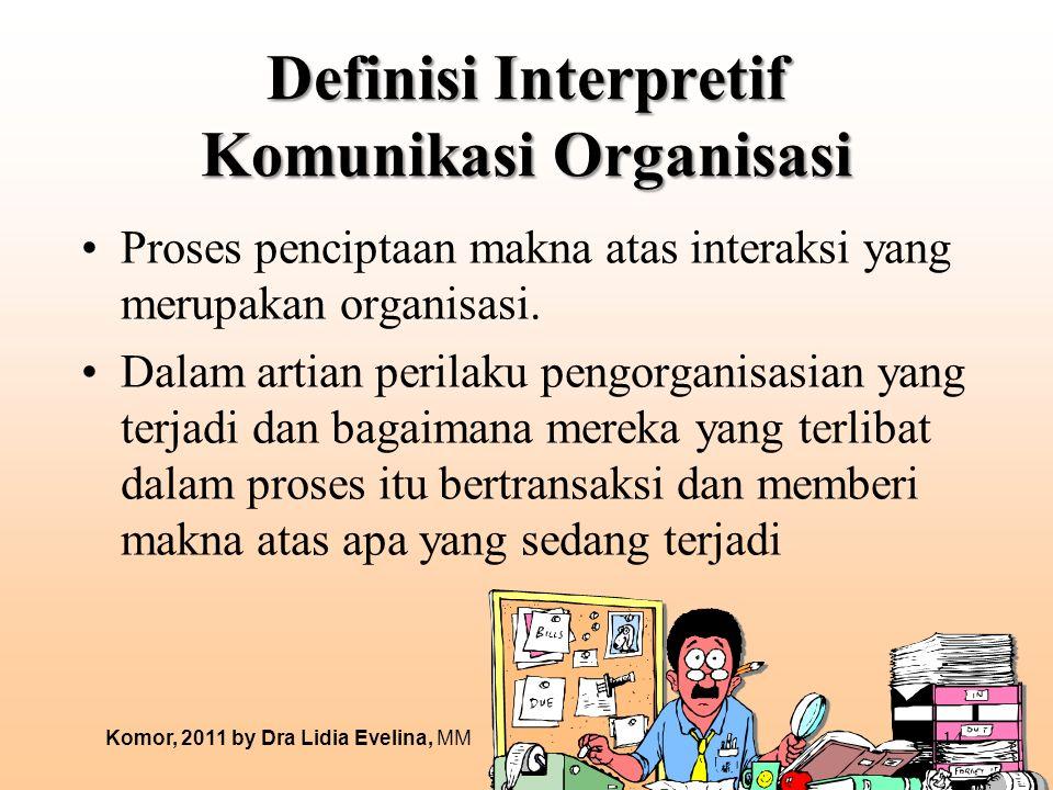 Definisi Interpretif Komunikasi Organisasi Proses penciptaan makna atas interaksi yang merupakan organisasi. Dalam artian perilaku pengorganisasian ya