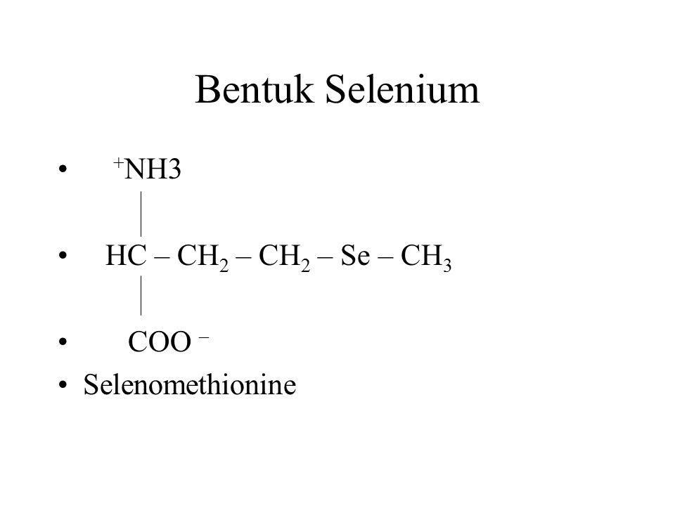 Bentuk Selenium + NH3 HC – CH 2 – CH 2 – Se – CH 3 COO – Selenomethionine