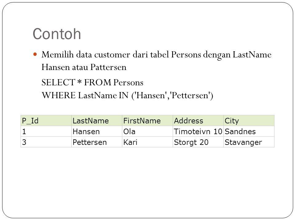 Contoh Memilih data customer dari tabel Persons dengan LastName Hansen atau Pattersen SELECT * FROM Persons WHERE LastName IN ( Hansen , Pettersen ) P_IdLastNameFirstNameAddressCity 1HansenOlaTimoteivn 10Sandnes 3PettersenKariStorgt 20Stavanger