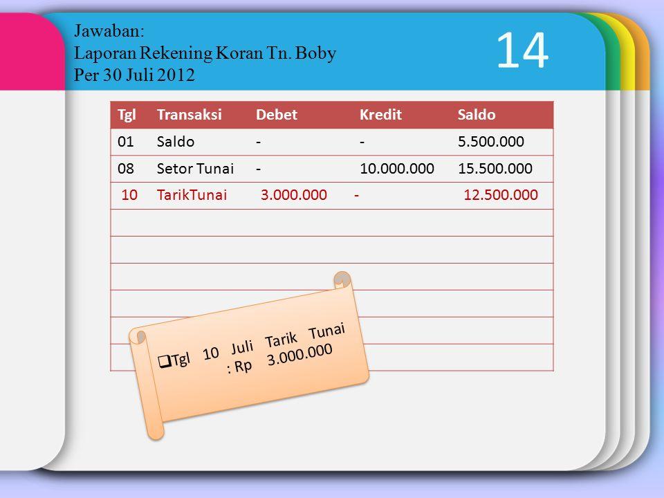 14 Jawaban: Laporan Rekening Koran Tn. Boby Per 30 Juli 2012 TglTransaksiDebetKreditSaldo 01Saldo--5.500.000 08Setor Tunai-10.000.00015.500.000  Tgl
