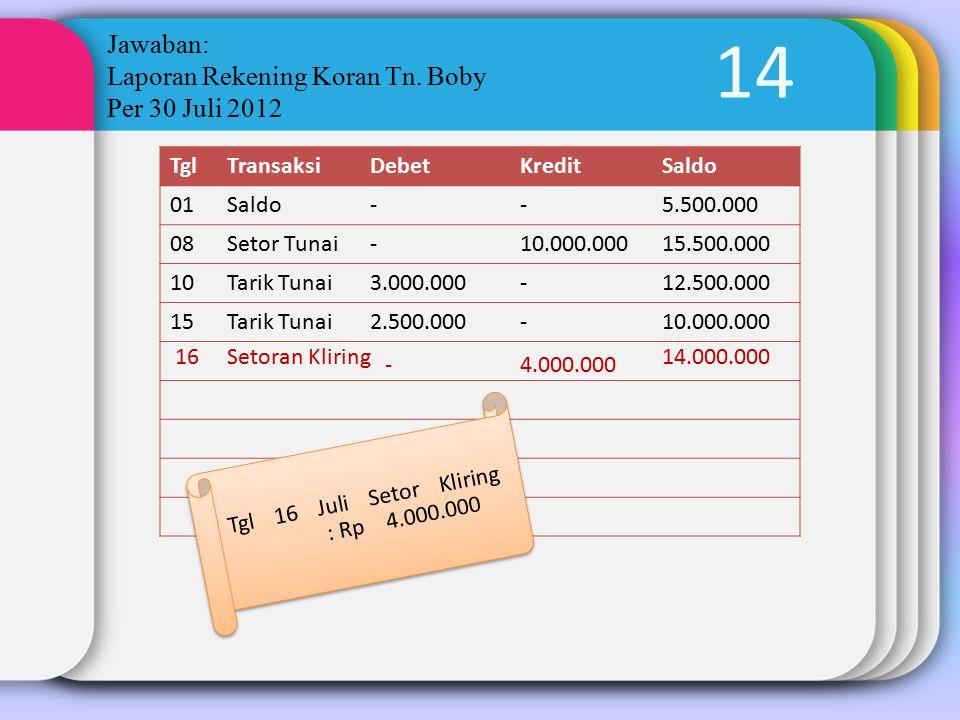14 Jawaban: Laporan Rekening Koran Tn. Boby Per 30 Juli 2012 TglTransaksiDebetKreditSaldo 01Saldo--5.500.000 08Setor Tunai-10.000.00015.500.000 10Tari