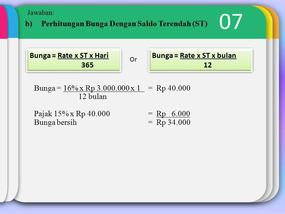 07 Jawaban: b)Perhitungan Bunga Dengan Saldo Terendah (ST) Bunga = Rate x ST x Hari 365 Bunga = Rate x ST x Hari 365 Or Bunga = Rate x ST x bulan 12 Bunga = Rate x ST x bulan 12 Bunga = 16% x Rp 3.000.000 x 1 = Rp 40.000 12 bulan Pajak 15% x Rp 40.000 = Rp 6.000 Bunga bersih= Rp 34.000