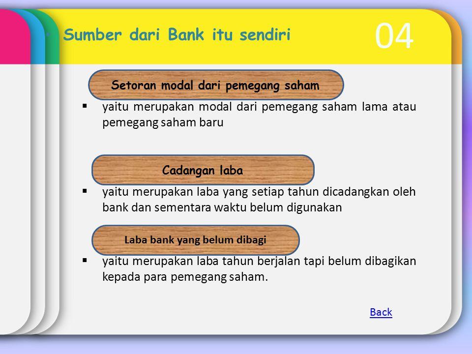 04 Sumber dari Bank itu sendiri  yaitu merupakan modal dari pemegang saham lama atau pemegang saham baru  yaitu merupakan laba yang setiap tahun dic