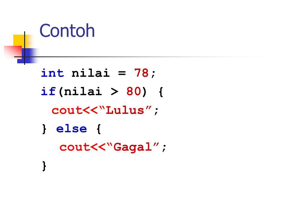 "Contoh int nilai = 78; if(nilai > 80) { cout<<""Lulus""; } else { cout<<""Gagal""; }"