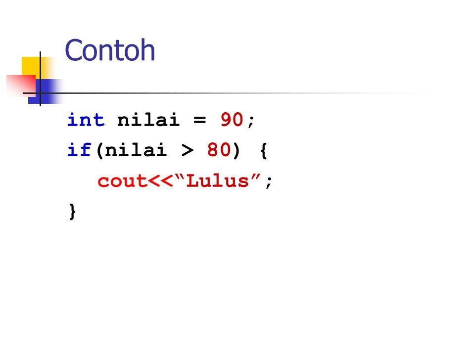 """Contoh int nilai = 90; if(nilai > 80) { cout<<""""Lulus""""; }"""