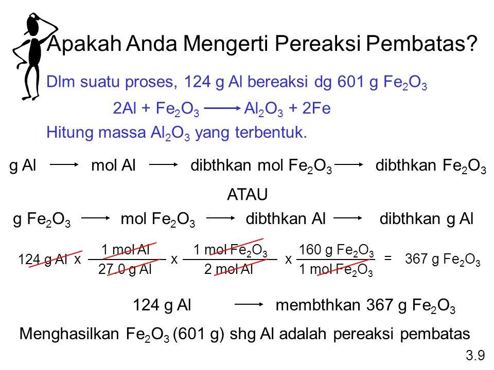 Apakah Anda Mengerti Pereaksi Pembatas? Dlm suatu proses, 124 g Al bereaksi dg 601 g Fe 2 O 3 2Al + Fe 2 O 3 Al 2 O 3 + 2Fe Hitung massa Al 2 O 3 yang