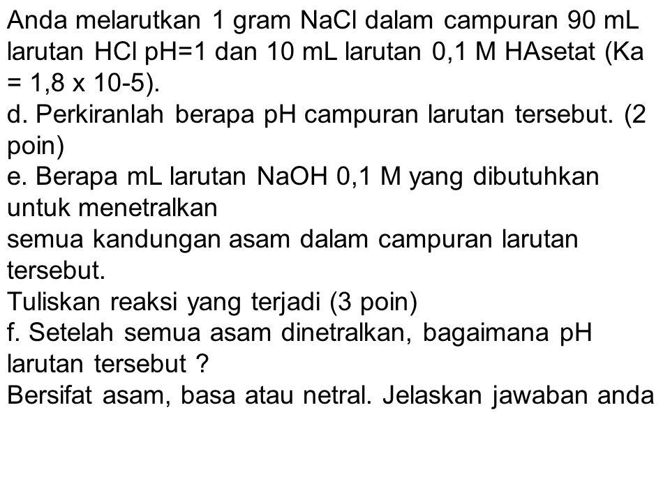 Anda melarutkan 1 gram NaCl dalam campuran 90 mL larutan HCl pH=1 dan 10 mL larutan 0,1 M HAsetat (Ka = 1,8 x 10-5). d. Perkiranlah berapa pH campuran