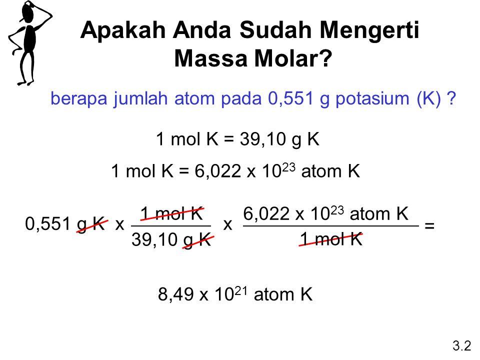 Apakah Anda Sudah Mengerti Massa Molar? berapa jumlah atom pada 0,551 g potasium (K) ? 1 mol K = 39,10 g K 1 mol K = 6,022 x 10 23 atom K 0,551 g K 1