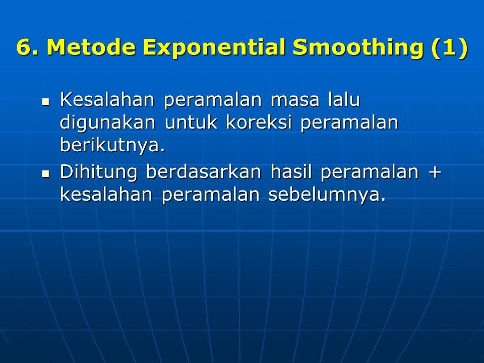 6. Metode Exponential Smoothing (1) Kesalahan peramalan masa lalu digunakan untuk koreksi peramalan berikutnya. Kesalahan peramalan masa lalu digunaka