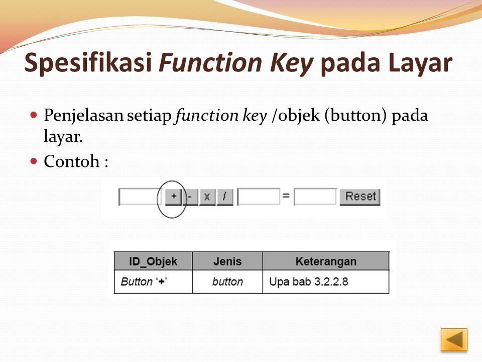 Spesifikasi Function Key pada Layar Penjelasan setiap function key /objek (button) pada layar. Contoh :