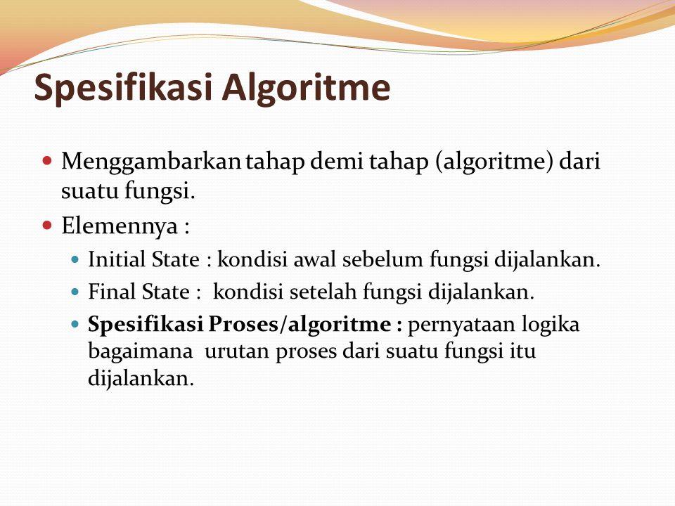 Spesifikasi Algoritme Menggambarkan tahap demi tahap (algoritme) dari suatu fungsi. Elemennya : Initial State : kondisi awal sebelum fungsi dijalankan