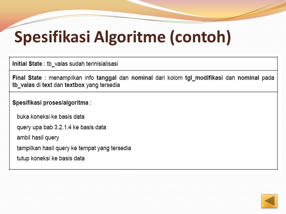 Spesifikasi Algoritme (contoh)