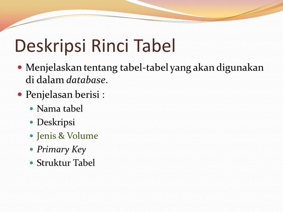 Deskripsi Rinci Tabel Menjelaskan tentang tabel-tabel yang akan digunakan di dalam database. Penjelasan berisi : Nama tabel Deskripsi Jenis & Volume P