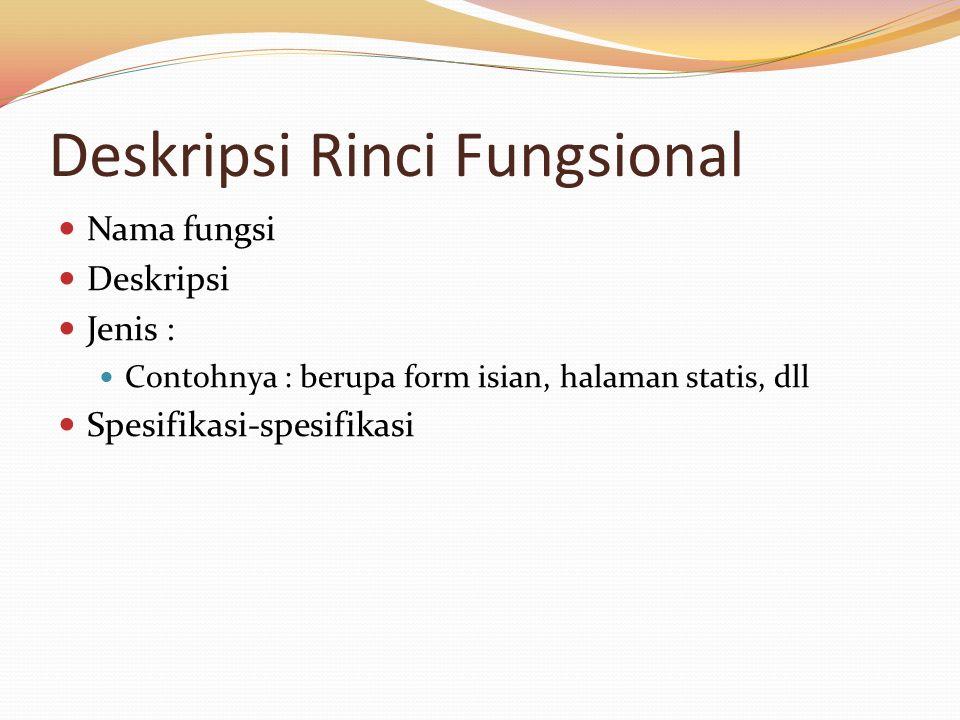 Deskripsi Rinci Fungsional Nama fungsi Deskripsi Jenis : Contohnya : berupa form isian, halaman statis, dll Spesifikasi-spesifikasi