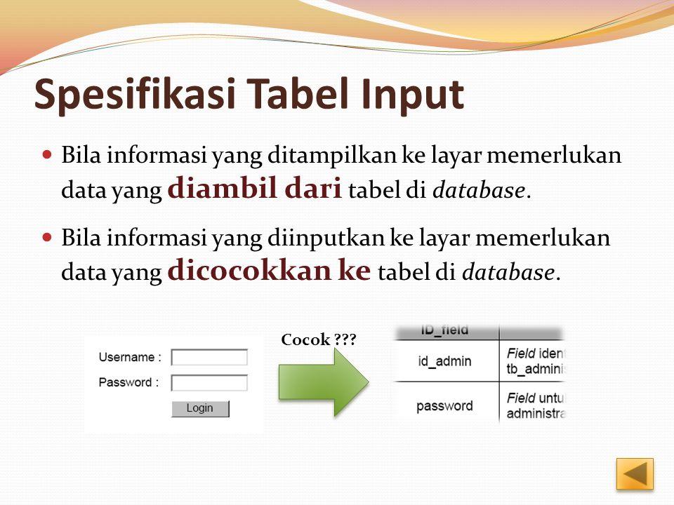 Spesifikasi Tabel Input Bila informasi yang ditampilkan ke layar memerlukan data yang diambil dari tabel di database. Bila informasi yang diinputkan k