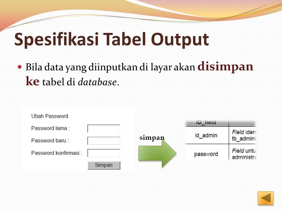 Spesifikasi Tabel Output Bila data yang diinputkan di layar akan disimpan ke tabel di database.