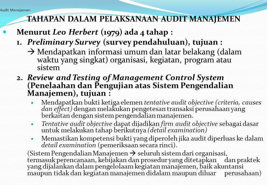 Audit Manajemen TAHAPAN DALAM PELAKSANAAN AUDIT MANAJEMEN Menurut Leo Herbert (1979) ada 4 tahap : 1. Preliminary Survey (survey pendahuluan), tujuan