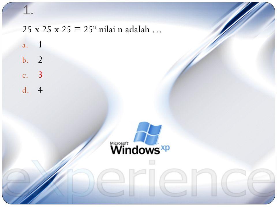 Catatan: Nomor 1 – 25 : Berilah tanda silang (X) pada jawaban yang paling benar, waktu 1 soal 2 menit Mata Pelajaran: Matematika Materi: Operasi Hitun