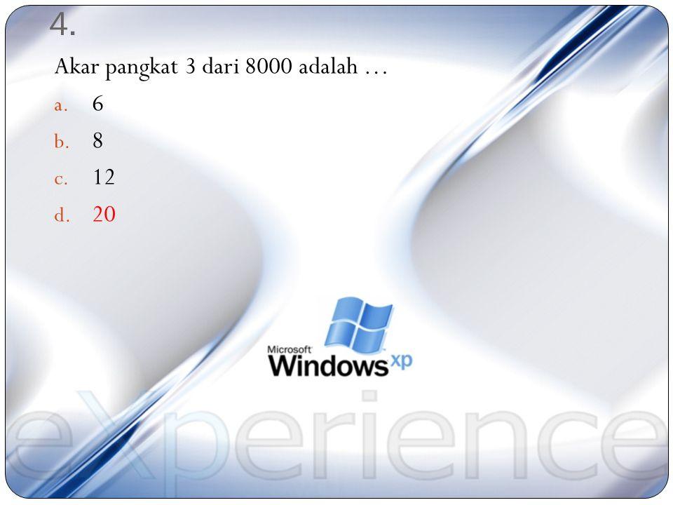 3. 11 3 – 7 3 = n Hasil n adalah … a. 989 b. 988 c. 899 d. 898