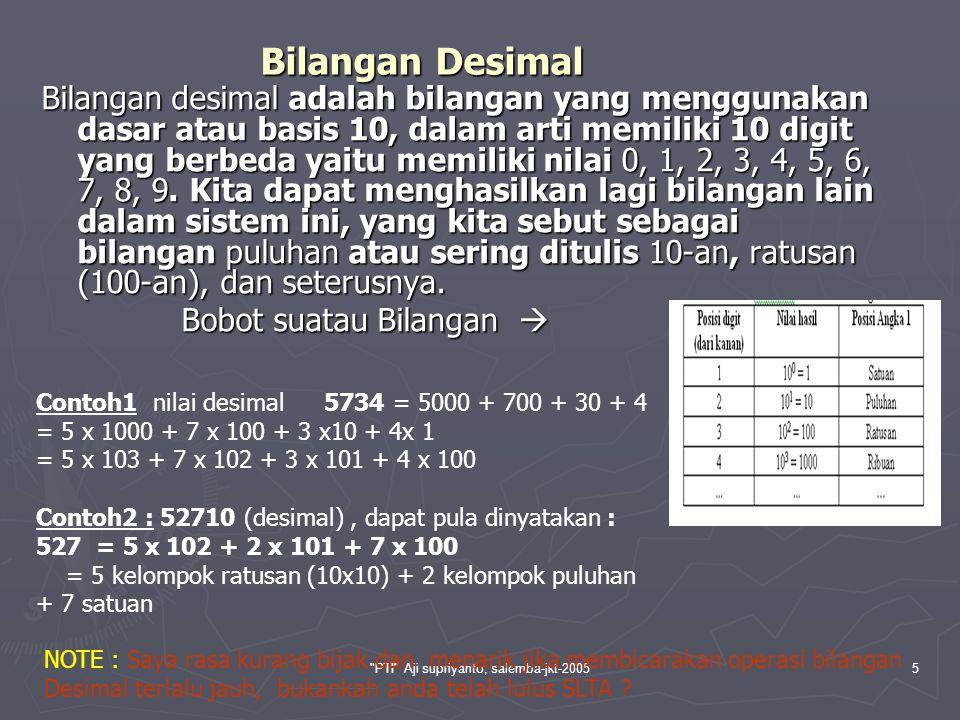 PTI Aji supriyanto, salemba-jkt-20056 Bilangan Biner Sejak pertama kali komputer elektronik digunakan, telah beroperasi dengan menggunakan bilangan biner, yaitu bilangan dengan basis 2 pada sistem bilangan.