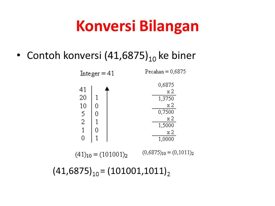 Konversi Bilangan Contoh konversi (41,6875) 10 ke biner (41,6875) 10 = (101001,1011) 2