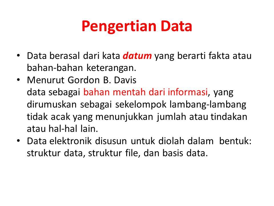 Pengertian Data Data berasal dari kata datum yang berarti fakta atau bahan-bahan keterangan. Menurut Gordon B. Davis data sebagai bahan mentah dari in