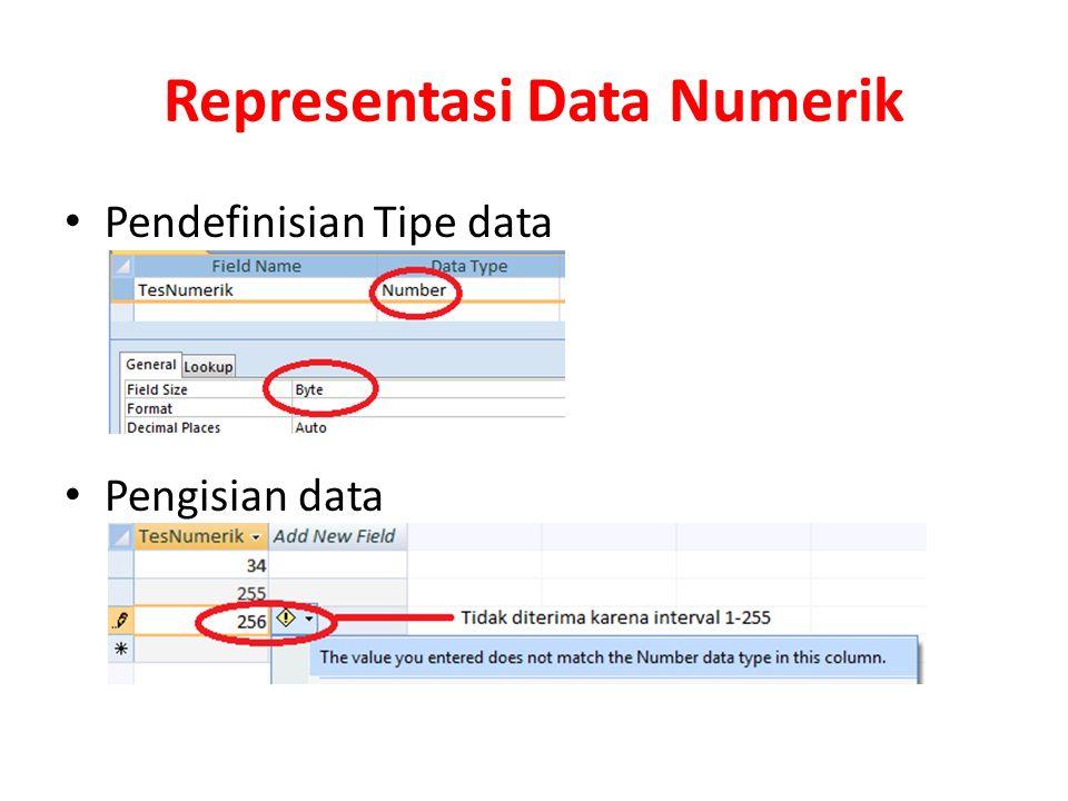 Representasi Data Numerik Pendefinisian Tipe data Pengisian data