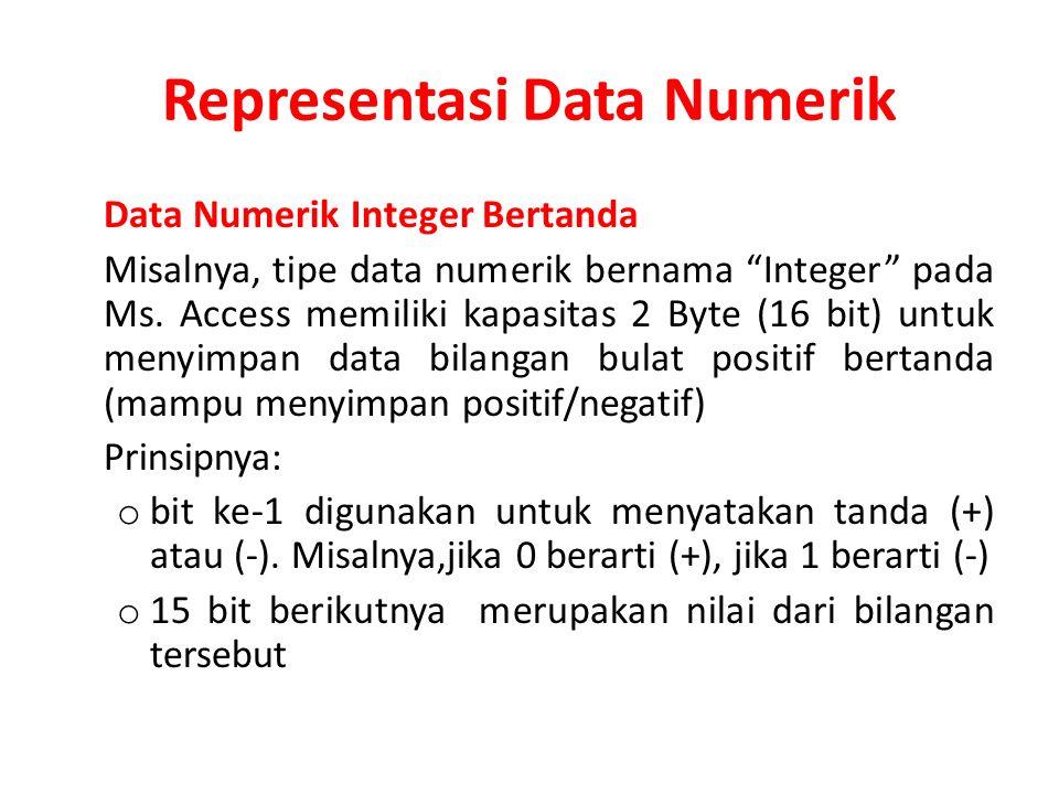 "Representasi Data Numerik Data Numerik Integer Bertanda Misalnya, tipe data numerik bernama ""Integer"" pada Ms. Access memiliki kapasitas 2 Byte (16 bi"