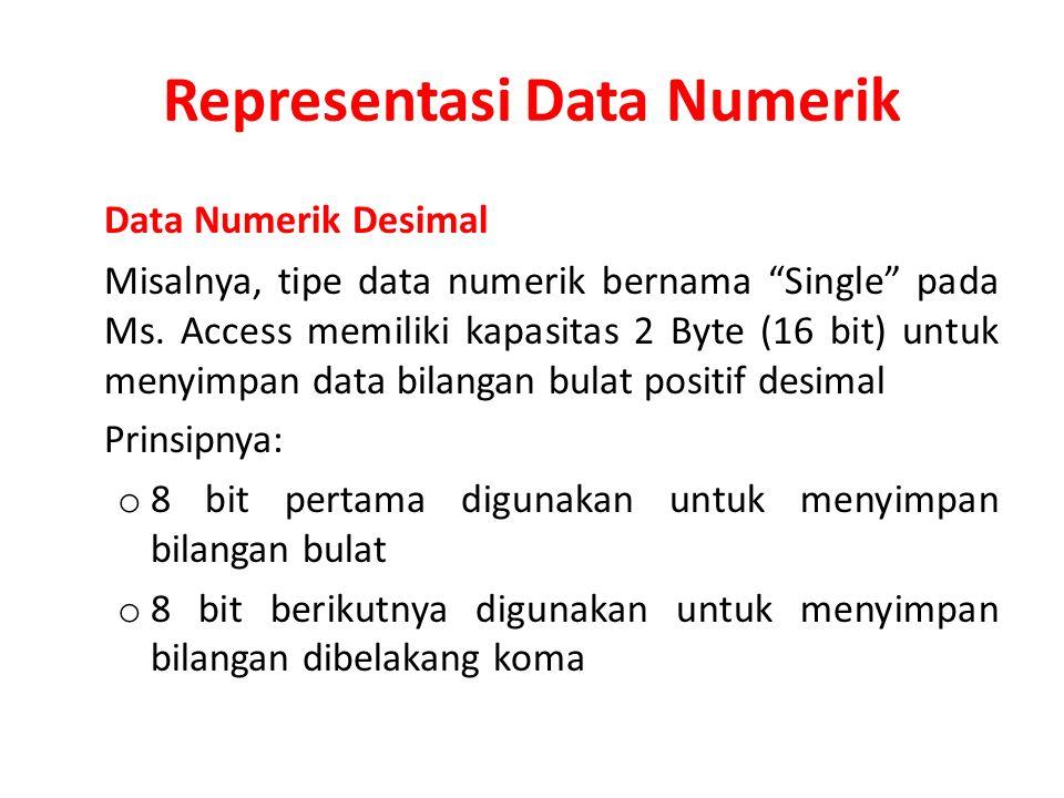 """Representasi Data Numerik Data Numerik Desimal Misalnya, tipe data numerik bernama """"Single"""" pada Ms. Access memiliki kapasitas 2 Byte (16 bit) untuk m"""