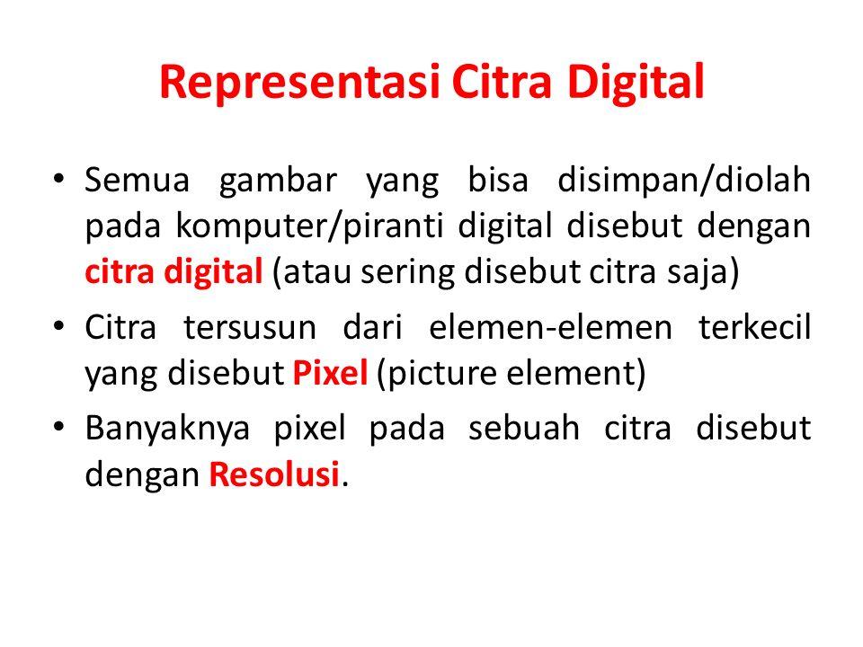 Representasi Citra Digital Semua gambar yang bisa disimpan/diolah pada komputer/piranti digital disebut dengan citra digital (atau sering disebut citr