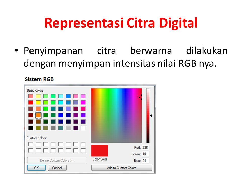 Representasi Citra Digital Penyimpanan citra berwarna dilakukan dengan menyimpan intensitas nilai RGB nya.