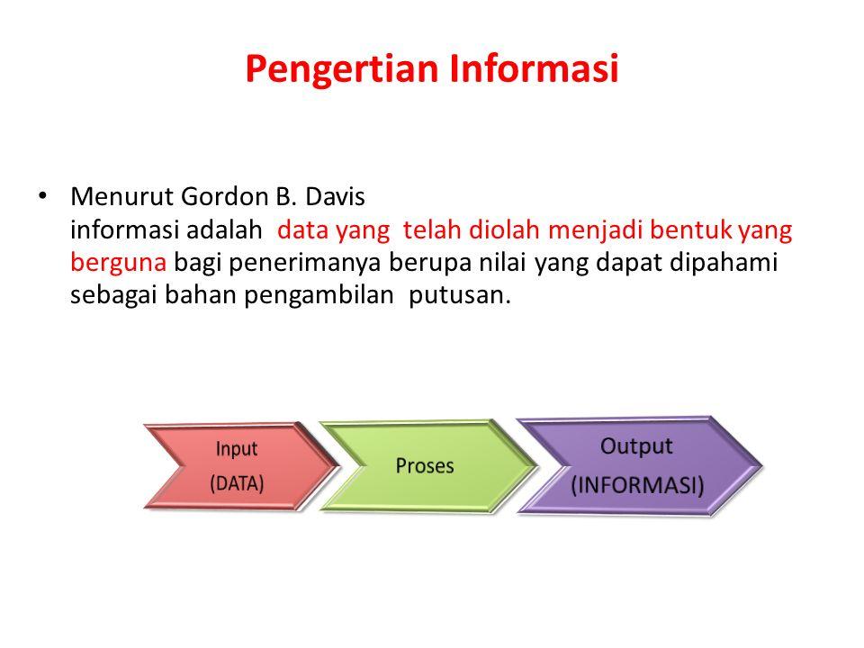 Pengertian Informasi Menurut Gordon B. Davis informasi adalah data yang telah diolah menjadi bentuk yang berguna bagi penerimanya berupa nilai yang da