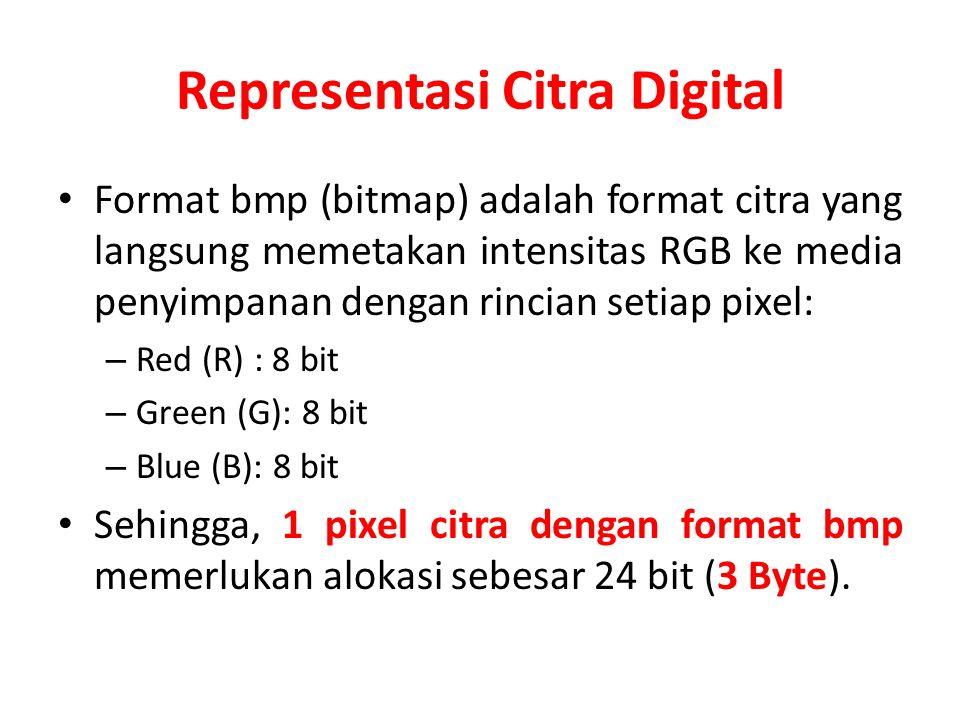 Representasi Citra Digital Format bmp (bitmap) adalah format citra yang langsung memetakan intensitas RGB ke media penyimpanan dengan rincian setiap p