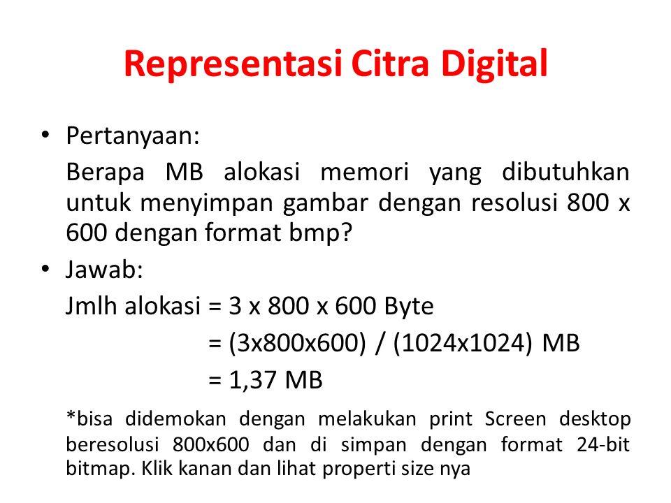 Representasi Citra Digital Pertanyaan: Berapa MB alokasi memori yang dibutuhkan untuk menyimpan gambar dengan resolusi 800 x 600 dengan format bmp? Ja
