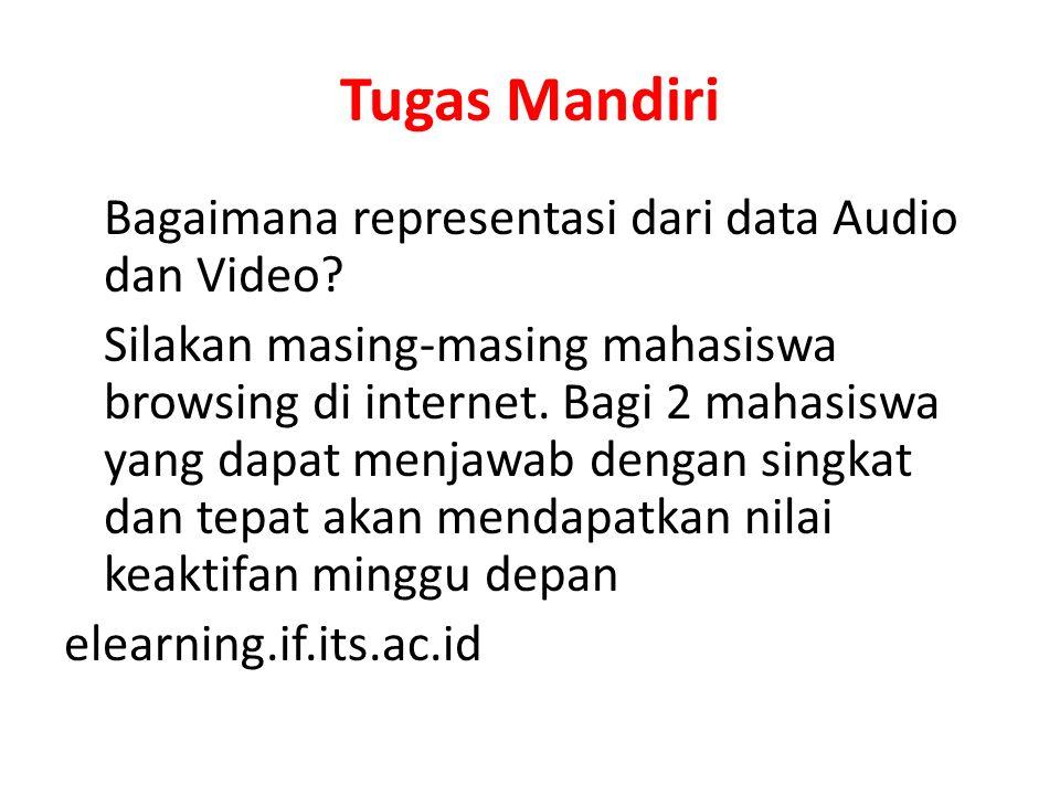 Tugas Mandiri Bagaimana representasi dari data Audio dan Video? Silakan masing-masing mahasiswa browsing di internet. Bagi 2 mahasiswa yang dapat menj