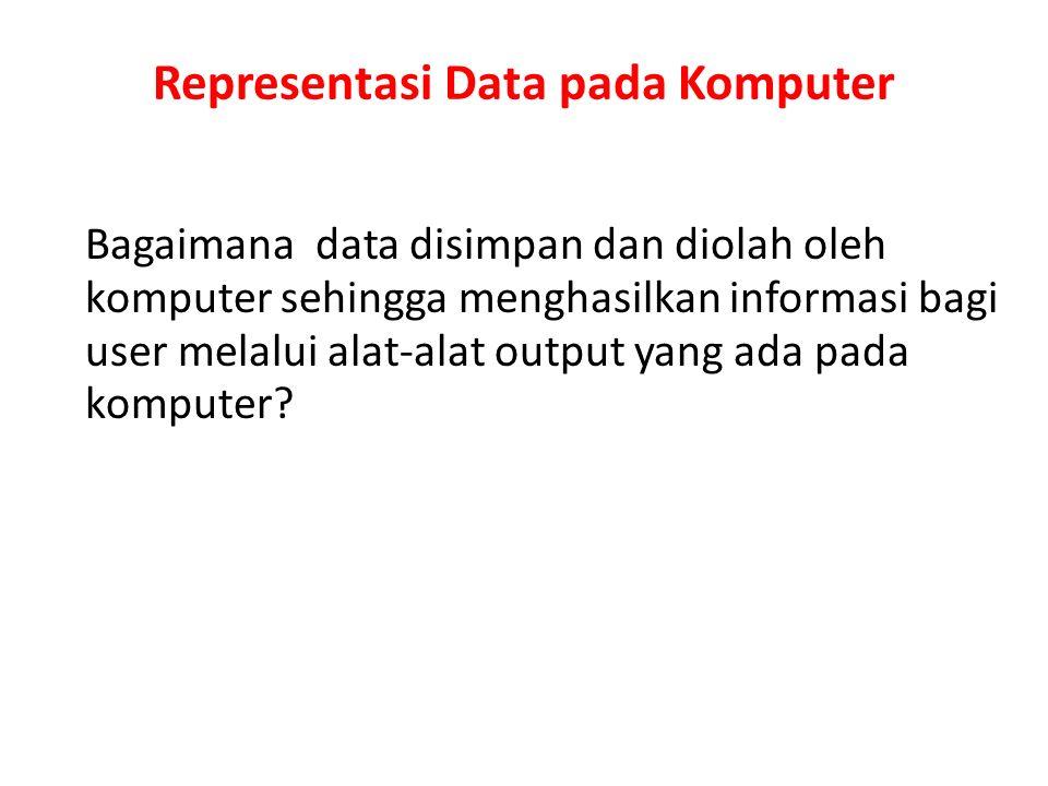 Representasi Data pada Komputer Data pada komputer digital disimpan pada memori atau register Semua data digital dikodekan dalam bentuk kode biner karena memori/register dibuat dari flip- flop, dan flip-flop merupakan suatu piranti yang hanya menyimpan/tidak menyimpan arus listrik (disimbolkan 0 dan 1) Untuk mengkonversikan data pada bentuk biner diperlukan pemahaman konsep basis pada sistem bilangan