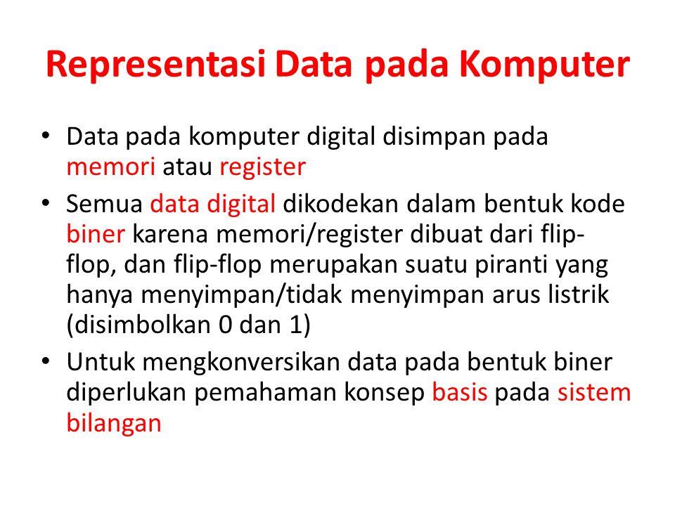 Representasi Data pada Komputer Data pada komputer digital disimpan pada memori atau register Semua data digital dikodekan dalam bentuk kode biner kar