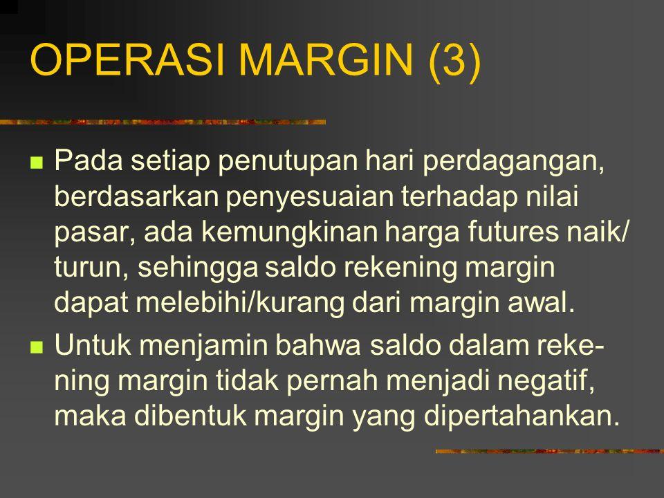 OPERASI MARGIN (2) Rekening Margin: rekening yang harus dibuka oleh investor untuk melakukan perdagangan berjangka. Rekening awal: Jumlah dana yang ha