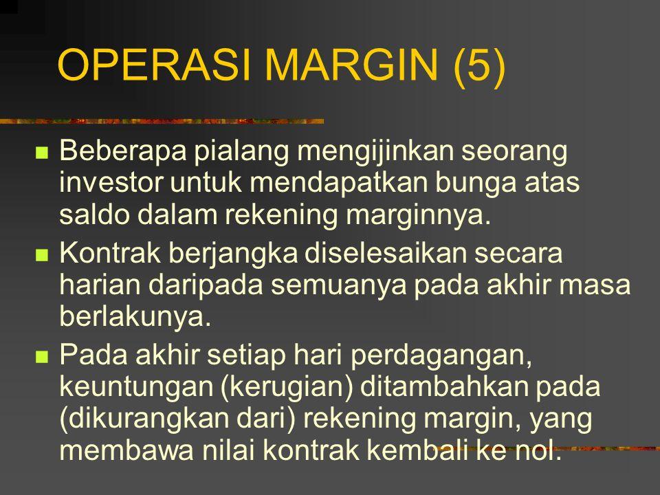 OPERASI MARGIN (4) Margin yang dipertahankan: nilai margin untuk menjamin bahwa saldo dalam rekening margin tidak menjadi negatif. Pemberitahuan Margi