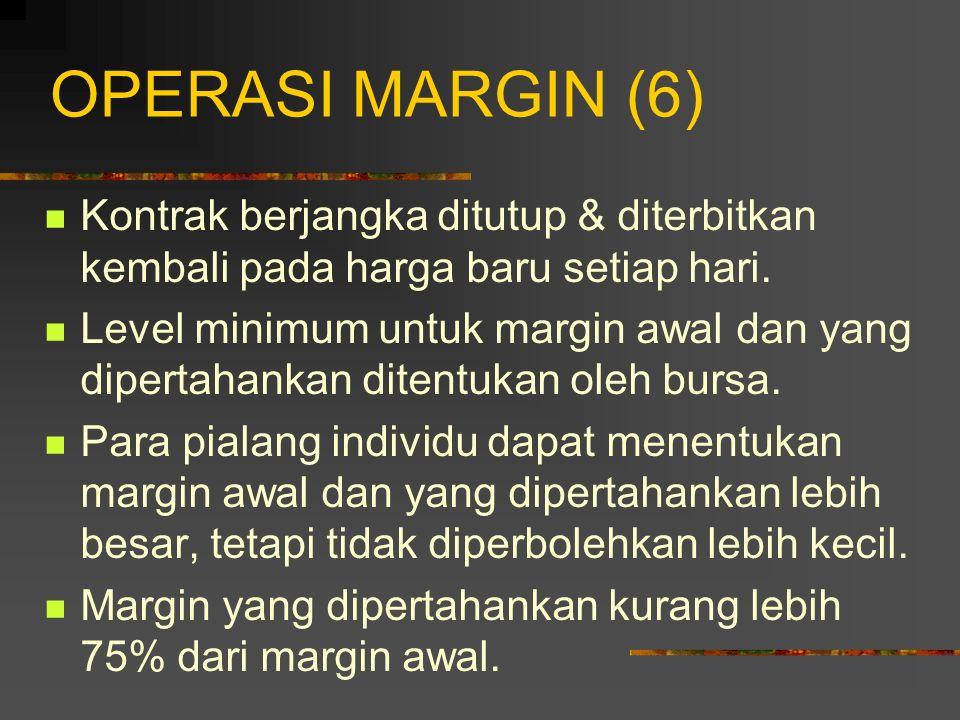 OPERASI MARGIN (5) Beberapa pialang mengijinkan seorang investor untuk mendapatkan bunga atas saldo dalam rekening marginnya. Kontrak berjangka disele