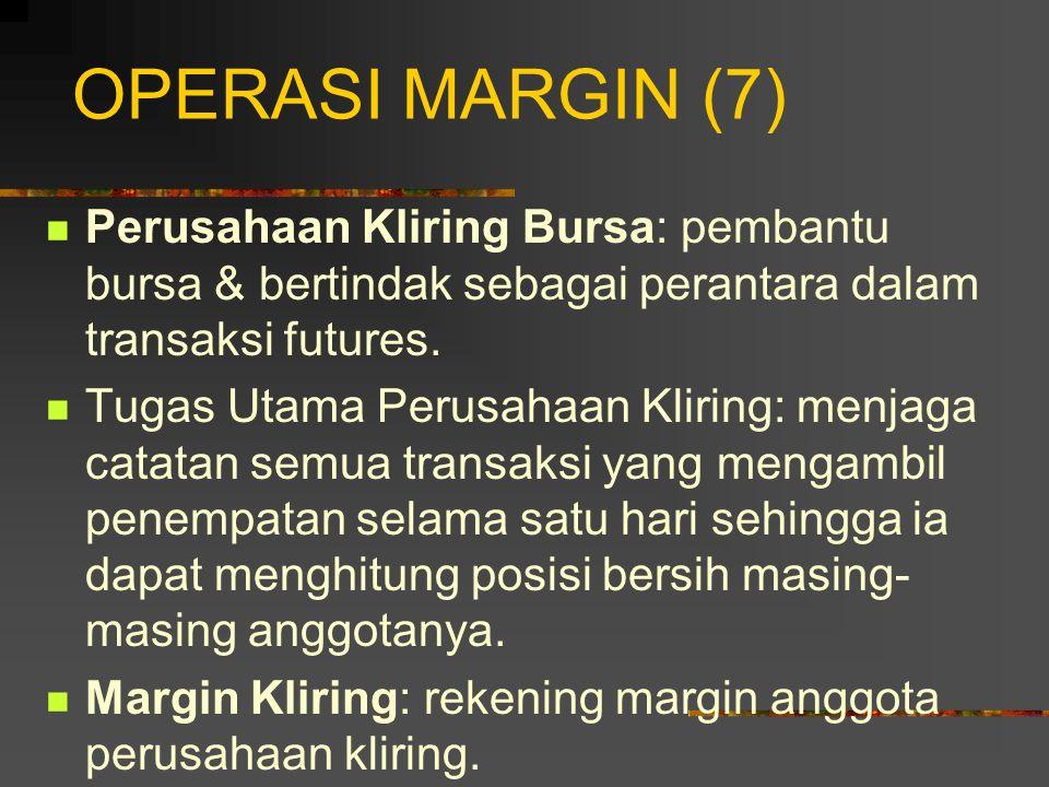 OPERASI MARGIN (6) Kontrak berjangka ditutup & diterbitkan kembali pada harga baru setiap hari. Level minimum untuk margin awal dan yang dipertahankan